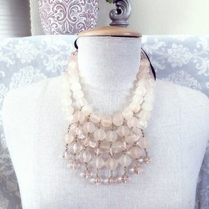 J CREW pink layered beaded bib bow tie necklace